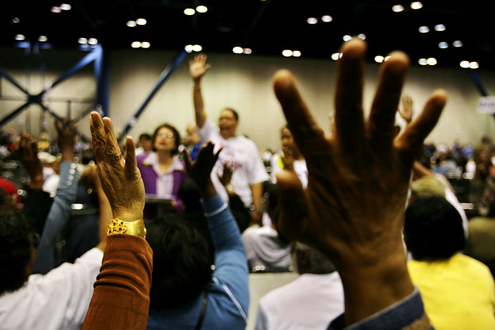 Members of Precinct 379 vote on a chair to lead their precinct at the convention March 29, 2008 at the George R. Brown Convention Center during the Texas Democratic Senate District 6 Convention. That person will also represent them in Austin for the state convention. The Texas Democratic Senate District 6 Convention determines some of the Harris County delegates who attend the Texas Democratic State Convention and may end up becoming delegates to the Democratic National Convention. Saturday, March 29, 2008, in HOUSTON. ( Eric Kayne / Chronicle )