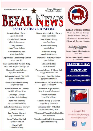 Bexar News – Winter 2016 – OLD – Republican Party of Bexar County